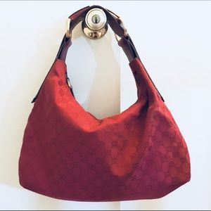 Gucci Red Monogram Medium Horsebit Chain Hobo